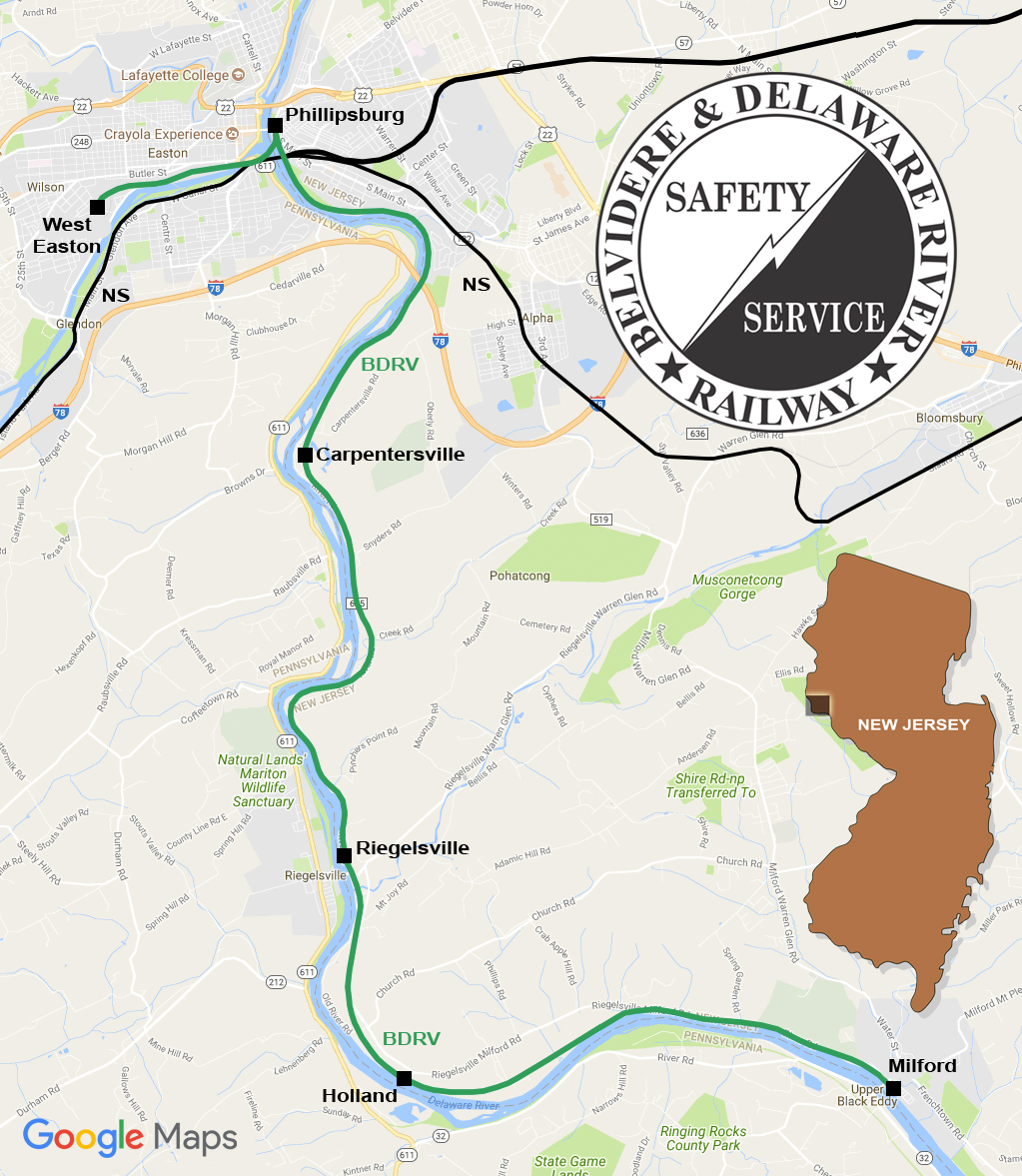 Chesapeake And Delaware LLC Belvidere Delaware River Railway - Norfolk southern system map